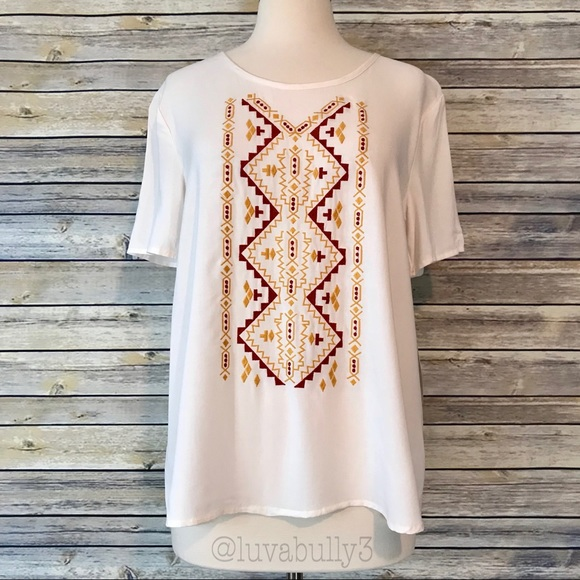 love, Fire Tops - NWT Love, Fire Tribal Embroidered SS Top, Size Med